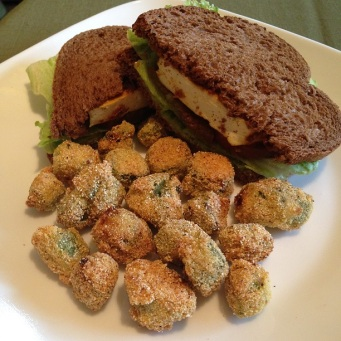 Okra Nuggets and BBQ Tofu Burger