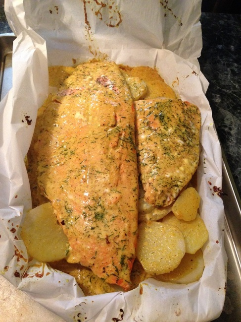 Salmon w/ Coconut Curry in Parchment